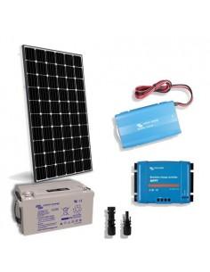 Kit Solaire Chalet Lux 300W 12V Panneau Europèen Onduleur 1000W Batterie 130Ah