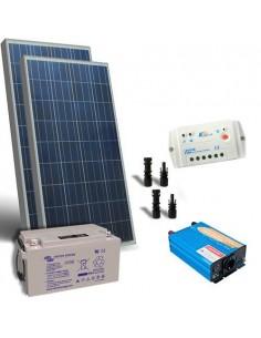 Kit Chalet 200W 12V Base Panneau Solaire Regulateur Onduleur Batterie 90Ah