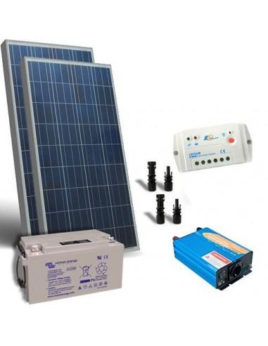 Kit Chalet 200W 12V Base Panneau Solaire Regulateur de Charge Batterie Onduleur
