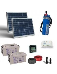 Kit Solaire Photovoltaique eau 50W 24V-400L/h Prevalence 10mt batterie 22Ah