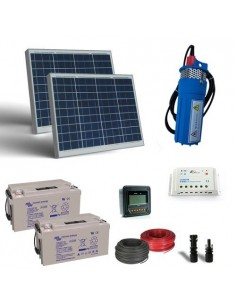 Kit Solaire Pompage 50W 24V 400L/h Prevalence 10mt Batterie AGM 22Ah