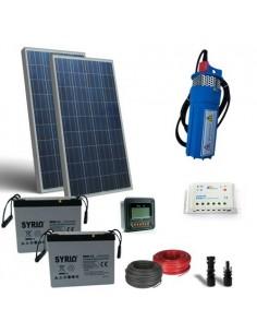 Kit Solare Irrigazione 100W 24V 360 L/h prevalenza 20mt Pompaggio batteria 60Ah
