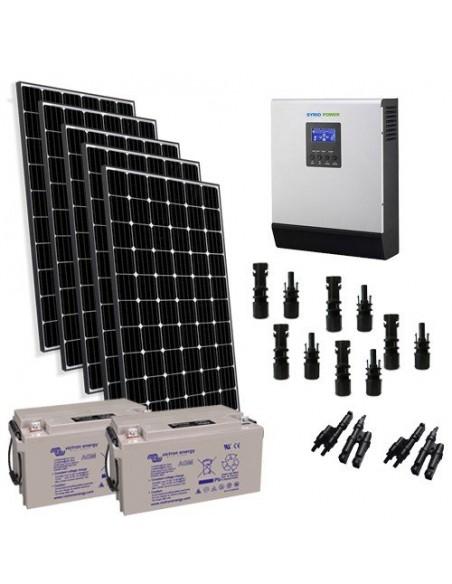 Kit Solaire Chalet 260W 12V Pro2 Panneau Off-grid Onduleur 1200W 12V