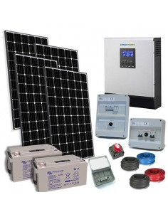 Kit Casa Solare Plus 1.2kW 24V Inverter 3000W Europeo Batteria 90Ah