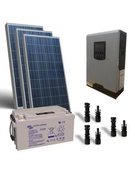 Kit Chalet 300W 12V Pro Panneau Solaire Regulateur de Charge Batterie Onduleur
