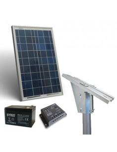 Kit Solaire Lux 20W Panneau Regolateur de Charge 5A Batterie 12Ah Support Poteau