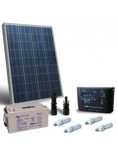 Kit Solare Illuminazione Fluo 100W 12V per Interni Fotovoltaico batteria 90Ah