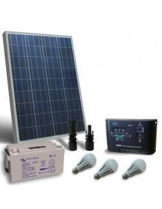 Kit Solare Illuminazione LED 100W 12V per Interni Fotovoltaico batteria 90Ah