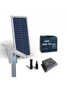Kit Solaire Lux 30W Panneau Regolateur de Charge 5A Batterie 18Ah Support Poteau