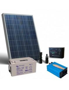 Kit Solaire Chalet Pro 100W 12V Panneau Regulateur Onduleur Batterie 90Ah