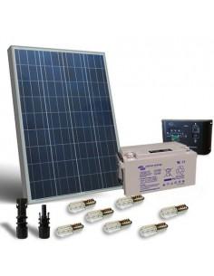 Kit Solar Votiv 100W 12V Photovoltaik-Panel Laderegler LED Batterie 90Ah