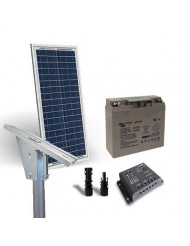 Kit Solare Lux 10W Pannello Fotovoltaico Regolatore 5A Batteria 12Ah Testapalo