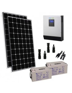 Kit Solaire Chalet 600W 24V Pro Panneau Europèen Onduleur 3000W batterie 90Ah