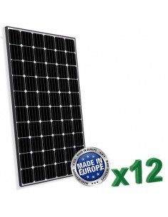 Set of 12 European Photovoltaic Solar Panels 300W Total 3600W Monocrystalline