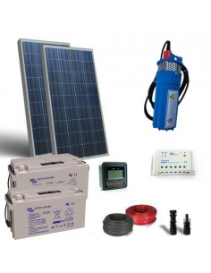 Kit Solar Water Pumping for 100W 24V - 360 L/h with prevalence 20mt battery 60Ah