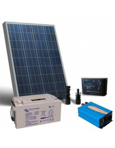 Solar-Kit Hütte Pro 100W 12V Solarmodul Laderegler Wechselrichter Batterie 60Ah