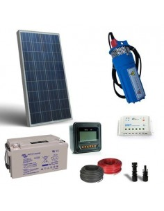 Kit Solar Water Pumping for 100W 12V - 180 L/h with prevalence 20mt Battery 60Ah