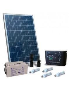 Kit Solare Illuminazione Fluo 100W 12V per Interni Fotovoltaico Batteria 60Ah