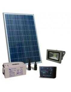 Kit Solare Illuminazione 100W 12V Esterni Faro LED Fotovoltaico Batteria 60Ah