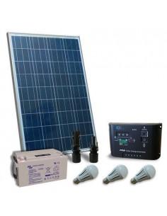 Kit d'éclairage solaire LED 100W 12V pour Intérieur Photovoltaique Batterie 60Ah
