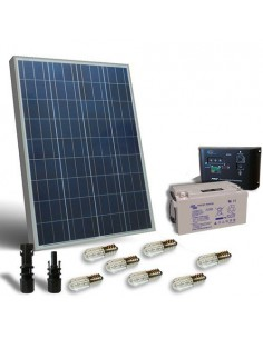 Kit Solaire Votif 100W 12V Panneau Photovoltaique Regulateur LED Batterie 60Ah