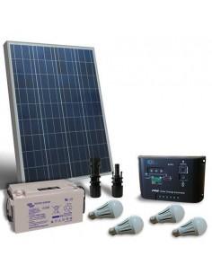 Kit Solare Illuminazione LED 80W 12V per Interni Fotovoltaico batteria 60Ah