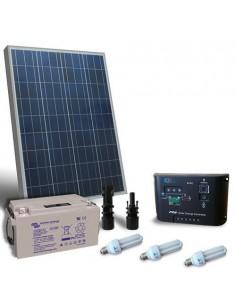 Kit Solare Illuminazione Fluo 80W 12V per Interni Fotovoltaico batteria 60Ah