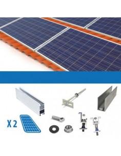 Kit de Fixation sur les Toits avec Tuiles pour 1 panneau solaire photovoltaïque