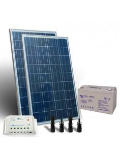 Kit Solare Pro 160W 12V Pannello Fotovoltaico Regolatore Batteria 110Ah GEL