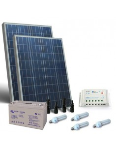 Kit Solare Illuminazione Fluo 160W 12V Interni Fotovoltaico Batterie 110Ah GEL