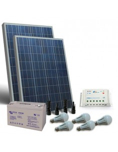 Kit Solare Illuminazione LED 160W 12V Interni Fotovoltaico Batteria 110Ah GEL