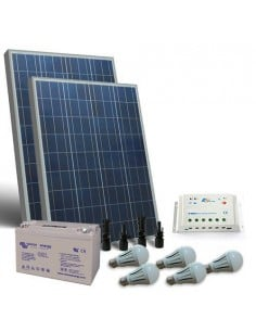 Solarbeleuchtung Kit LED 160W 12V Innere off grid Laderegler Batterie 110Ah GEL