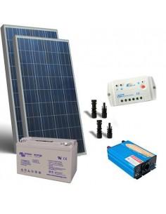 kit Solar Rifugio Base 200W Placa Solar Panel Inversor 1000W Batteria 110Ah GEL