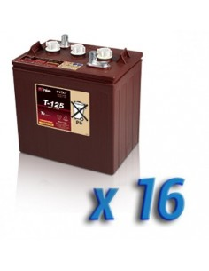 Pacco Batteria 96V Fotovoltaico Accumulo 16 x T-125 240Ah 6V Batterie Trojan