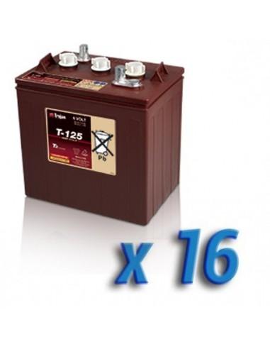 16 x Batteria Ciclica Trojan 240Ah 6V T-125 per Fotovoltaico, Stand-Alone, Isola