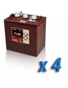Pacco Batteria 24V Fotovoltaico Accumulo 4 x T-125 240Ah 6V Batterie Trojan