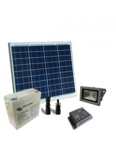 Kit Solare Illuminazione 60W 12V Esterni Faro LED 20W Batteria Super Cycle 25Ah