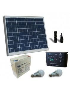 Kit Solare Illuminazione LED 60W 12V per Interni Batteria Super Cycle 25Ah