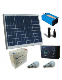 kit solar rifugio base 60w placa solar panel inversor regulador batteria mc4