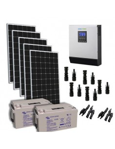 Solar-Kit Hütte 1500W 24V TR Pro Wechselrichter 3000W batterie AGM 220Ah