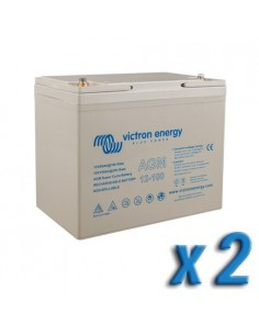 Set 2 x Batterie 100Ah 12V AGM Super Cycle Victron Energy Photovoltaïque Nautiqu