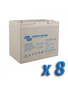 Set 8 x Batterie 100Ah 12V AGM Super Cycle Victron Energy Photovoltaïque Nautiqu