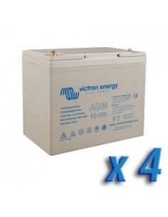 Set 4 x Batteria 100Ah 12V AGM Super Cycle Victron Energy Fotovoltaico Nautica