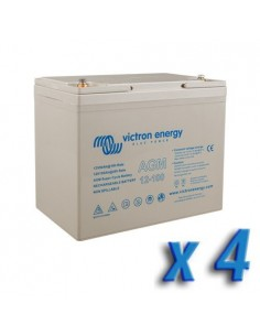 Set 4 x Batterie 100Ah 12V AGM Super Cycle Victron Energy Photovoltaïque Nautiqu