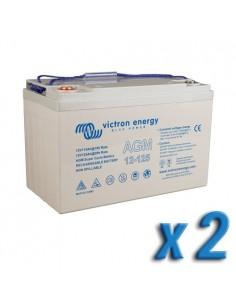 Set 2 x Batterie 125Ah 12V AGM Super Cycle Victron Energy Photovoltaïque Nautiqu