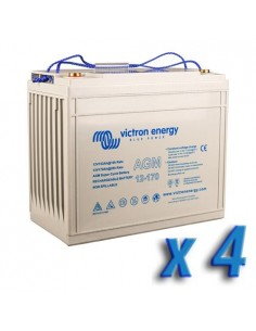 Set 4 x Batterie 170Ah 12V AGM Super Cycle Victron Energy Photovoltaïque Nautiqu