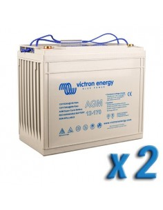 Set 2 x Batterie 170Ah 12V AGM Super Cycle Victron Energy Photovoltaïque Nautiqu