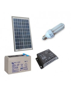Solar Lighting Kit Fluo 10W 12V for Interior Photovoltaics AGM Battery 8Ah 12V