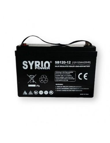Batteria 120Ah 12V AGM Syrio Power Fotovoltaico nautica camper veicoli elettrici