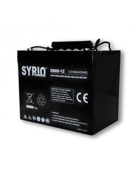 Batteria 80Ah 12V AGM Syrio Power Fotovoltaico nautica camper veicoli elettrici